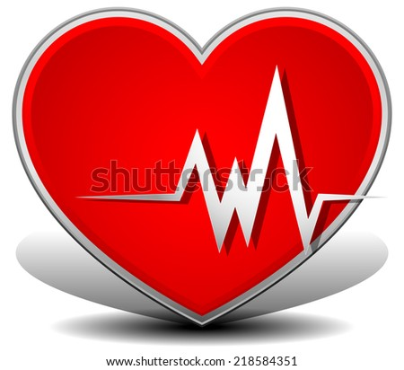 Cardiology, heart with heart rate. , Heart attack vector. - stock vector