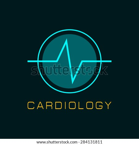 Cardiology icon with heart and cardiogram. vector illustrations - stock vector