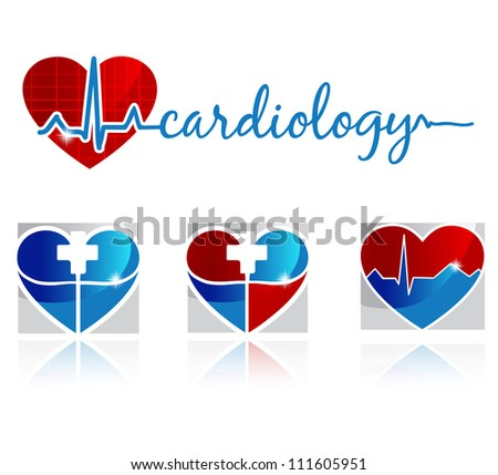 Cardiology, vascular and health care symbols - stock vector