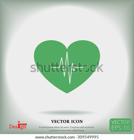 cardiology vector icon with heart and cardiogram - stock vector