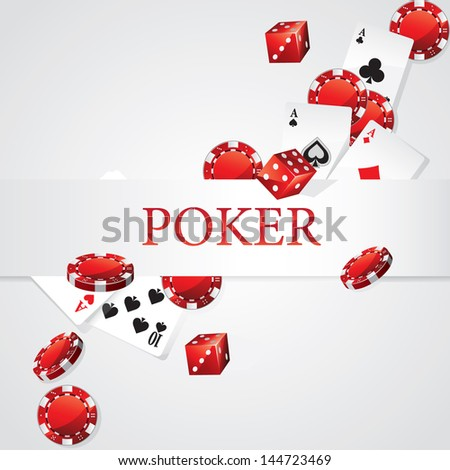 Cards Chips Dice Poker - stock vector