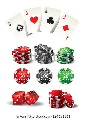 Cards Chips Poker - stock vector