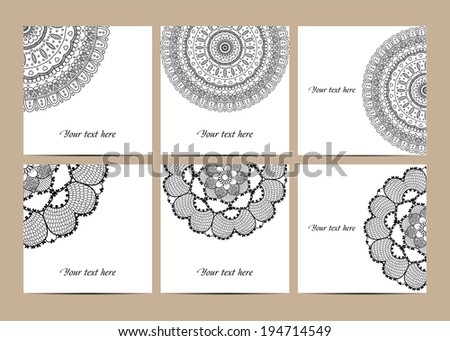 Cards collection, delicate floral pattern. Vector background. Card or invitation. Vintage decorative elements. Hand drawn background. Islam, arabic, indian, ottoman motifs. - stock vector
