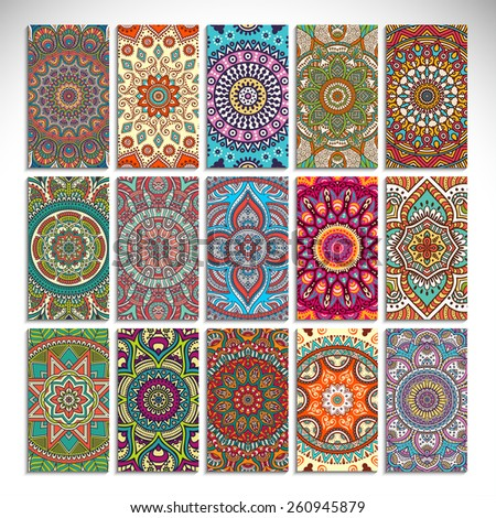 Cards collection. Vintage decorative elements. Hand drawn background. Islam, Arabic, Indian, ottoman motifs.  - stock vector