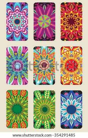 Cards collection with Round Ornament - stock vector
