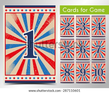 Cards for the game. Vector. - stock vector