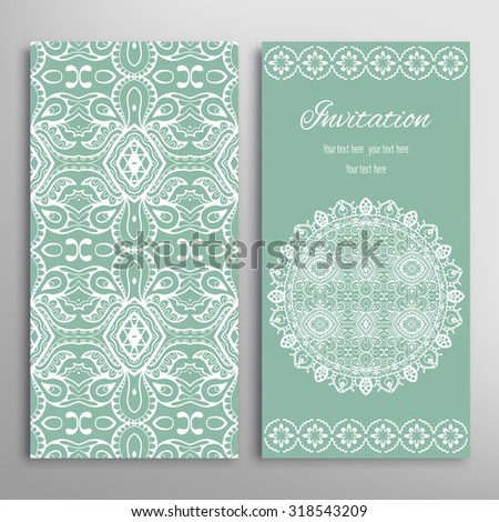 Cards or Invitations collection with Mandala round ornament and floral geometric lace pattern. Vintage decorative design elements for fabric or paper print
