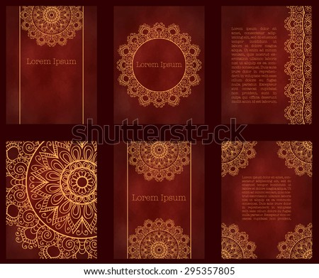 Cards or invitations with mandala pattern.Vector vintage hand-drawn highly detailed round mandala elements. Luxury lace festive ornament card. Islam, Arabic, Indian, Turkish, Ottoman, Pakistan motifs. - stock vector