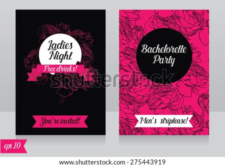 Cards Template For Ladies Bachelorette Party Vector Illustration