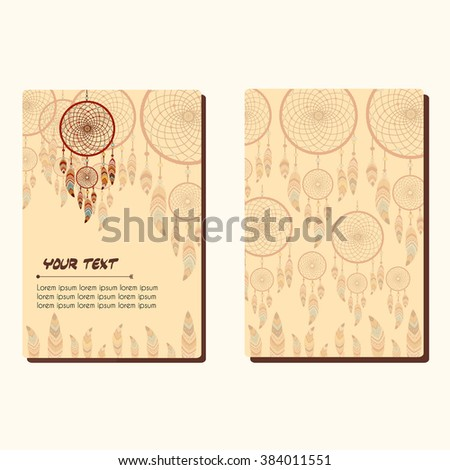 Cards with dreamcatcher and feathers. Abstract background. Ethnic design for card, invitation, party, presentation, greeting, boho, wedding. Place for text. Vector illustration.