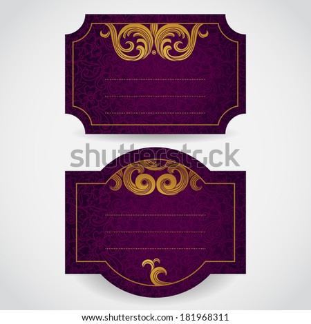 Cards with golden curls. Vintage set of east style backgrounds of scroll work. Place for text. Template frame design for labels, invitation, greeting cards. Golden border. Element for design.