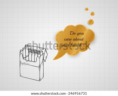 care about your health with pack of cigarettes on graph paper with speak bubble - stock vector
