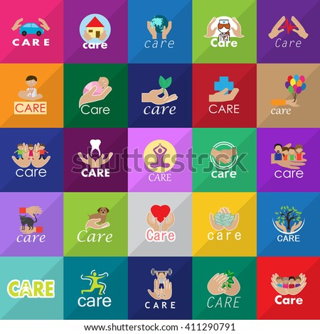 Care Icons Set-Isolated On Mosaic Background-Vector Illustration,Graphic Design. Healthcare Concept