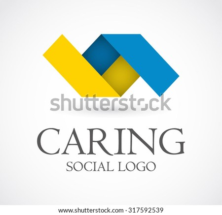 Care ribbon connect social abstract vector logo design template business group support icon company identity symbol concept - stock vector