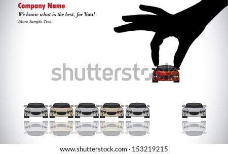 Care Sale or Car Key Concept Illustration : A hand silhouette choosing red colored car from a number of colorful cars display for sale - stock vector