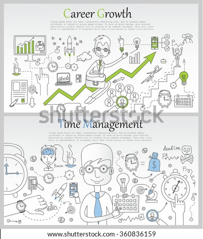 Career and management concept of thin line flat design banners for work flow, career, professional skill, human resources.promotional materials.  - stock vector