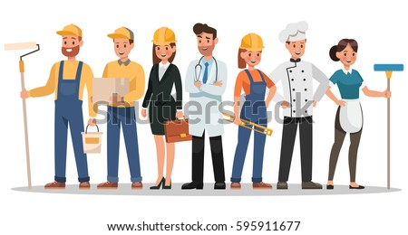 Career characters design include painter engineer stock for Character designer job