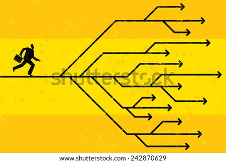 Career Choices Businessman navigating his career path. The man and arrows are on a separate labeled layer from the background. - stock vector