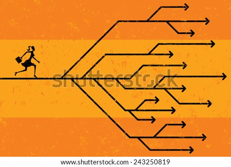 Career Choices Businesswoman navigating her career path. The woman and arrows are on a separate labeled layer from the background. - stock vector