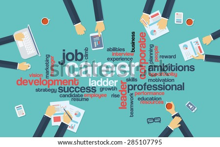 Career development or career ladder word cloud on professional background with businessman in meeting. Flat design concept infographics. Eps10 vector illustration. - stock vector