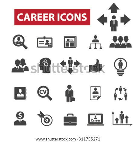 Career, job black isolated concept icons, illustrations set. Flat design vector for web, infographics, apps, mobile phone servces - stock vector