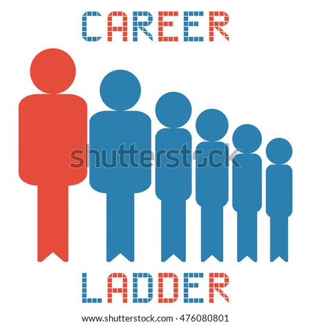 career ladder business management on the white background
