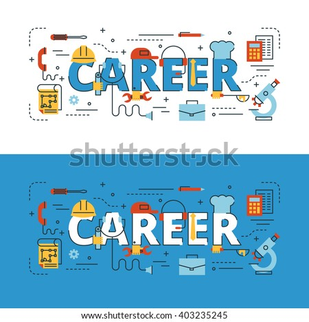 Career lettering flat line design with icons and elements for book cover, report header, presentation,illustration, infographics, printing, website banner and landing page. - stock vector