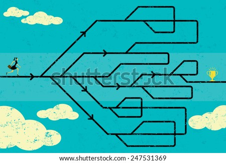 Career Path Businesswoman navigating her career path to success. The woman and maze are on a separate labeled layer from the background. - stock vector
