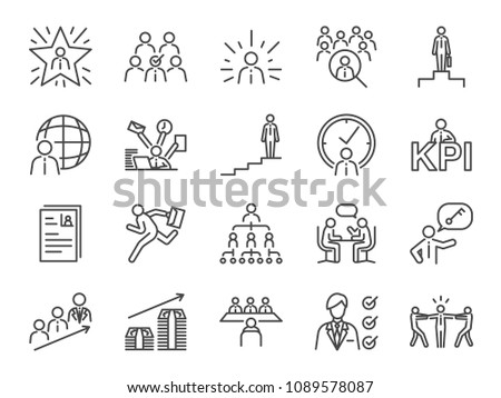 career path icon set included the icons as newbie job seeker headhunter