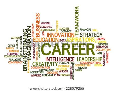 Career related words concept in word tag cloud - stock vector