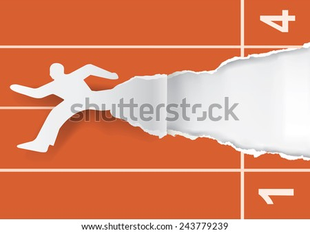 Career start. Running male silhouette on the start racing tracks. Ripping paper with place for your image or text. Concept for business start. Vector illustration.  - stock vector