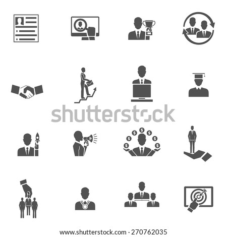 Career steps work progress staff training black icons set isolated vector illustration