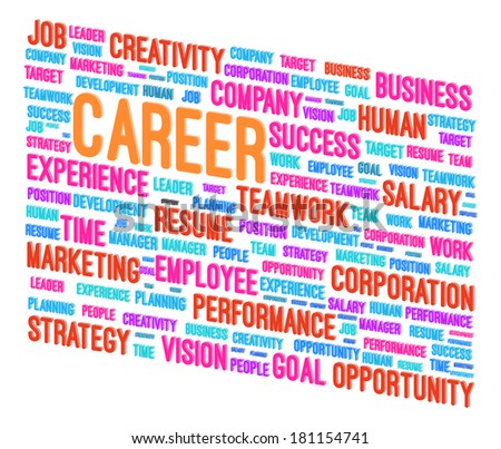Career Word Cloud 3D Concept Vector Illustration