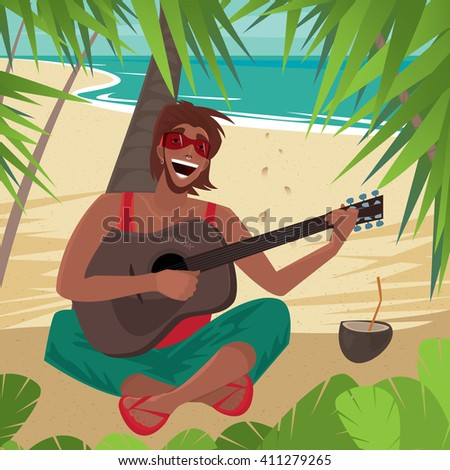 Carefree fun guy sitting on a beach under a palm tree, plays guitar and sings, standing next to a coconut drink. Front view - Happiness or Freedom concept. Vector illustration - stock vector