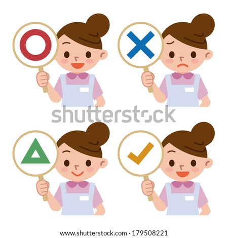 Caregiver with a panel of correct and incorrect answers - stock vector