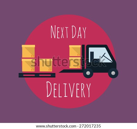 Cargo and delivery, shipping next day, freight truck vector. - stock vector