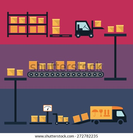 Cargo and delivery, shipping process vector illustration with boxes, container and freight trucks - stock vector
