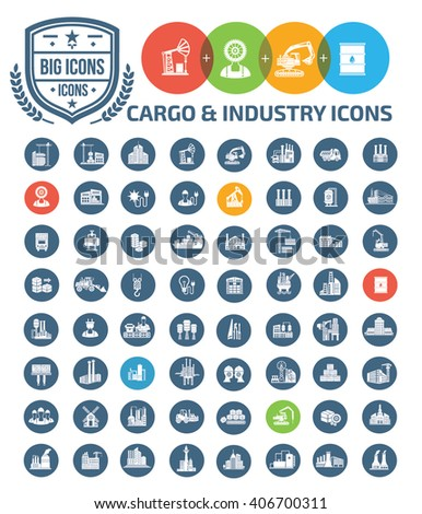 Cargo and industry icons,vector - stock vector
