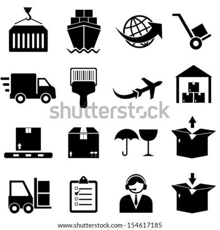 Cargo and shipping icon set