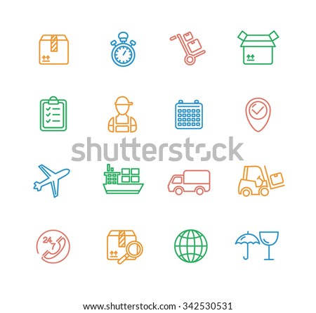 Cargo and Shipping Outline Colorful Icons Set. Vector illustration - stock vector