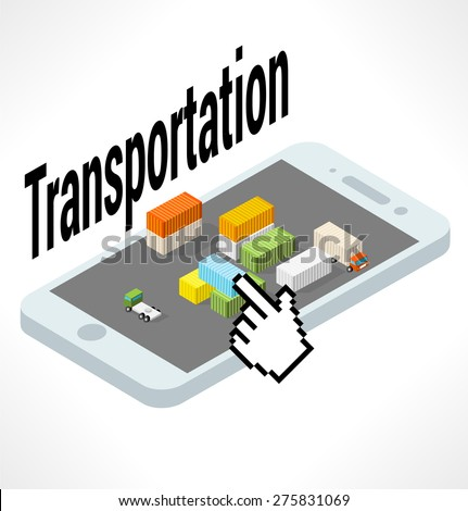 Cargo area with containers on smartphone - stock vector