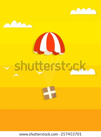 Cargo by parachute in the clouds - stock vector