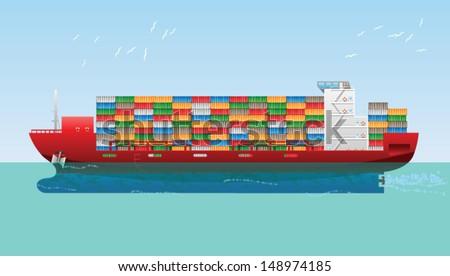 Cargo Container Ship. Vector illustration - stock vector