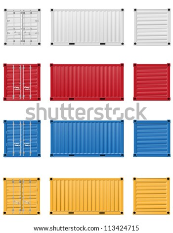 cargo container vector illustration isolated on white background - stock vector