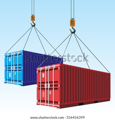 Cargo containers hoisted with hooks. Vector illustration - stock vector