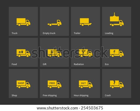 Cargo delivery trucks icons. Vector illustration. - stock vector