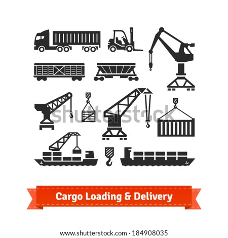 Cargo loading, lifting and delivery icons set. EPS10 vector. - stock vector