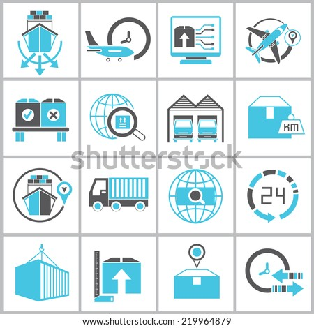 cargo management  icons, logistics shipping icons set, blue and black color theme