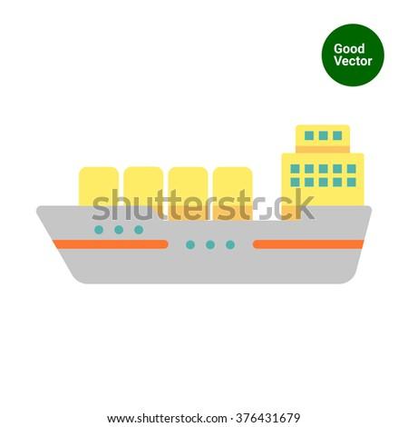 Cargo ship - stock vector