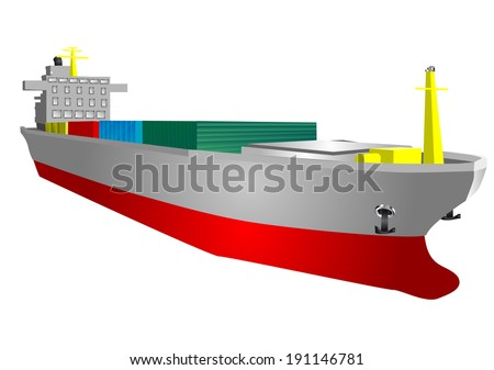 cargo ship isolated on a white background - stock vector